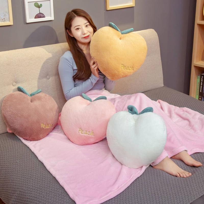 40*35cm Creative Simulation Fruit Plush Toy Stuffed Peach Cushion Super Soft Kawaii Peaches Sofa Pillow Lovely Gift For Girl Kid