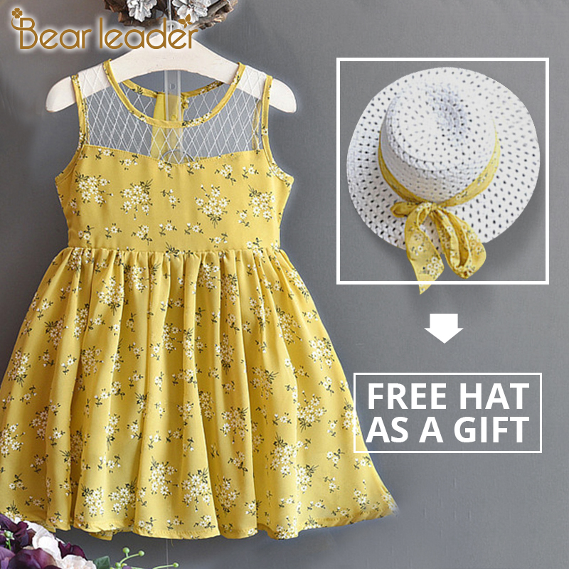Bear Leader Girls Dresses 2020 Princess Girl Clothing Floral Dress Splicing Gauze Layered Dress And Hat 2Pcs For 2-6Years