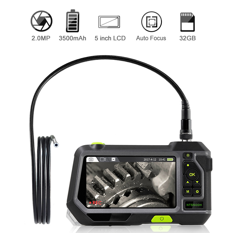 2.0MP Industrial Endoscope Autofocus Inspection Camera With 5 Inch Screen 1080P HD Waterproof Borescope With 32GB TF Card