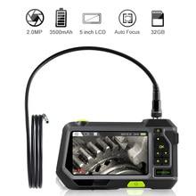 2.0MP otofokus endüstriyel endoskop 14.5mm muayene kamera ile 5 inç ekran 1080P HD su geçirmez Borescope ile 32GB TF kart
