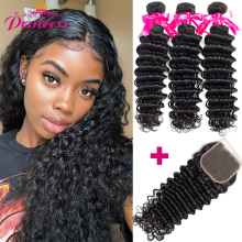 Princess Hair Closure Deep-Wave-Bundles Beautiful Brazilian Weave Double-Weft with Remy