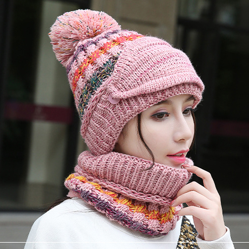 New Winter Mask Hat Scarf Set 3pcs Thick Knitted Cashmere Warm Autumn Women Knit Hat Wool Pom Cover Ear Collar Beanie Skullcaps