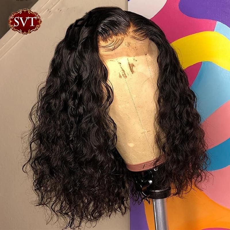 SVT brezilyalı su dalga kısa Bob 4x4 kapatma peruk insan saçı dantel Frontal dalgalı kıvırcık Bob peruk kadınlar için ön koparıp dantel peruk