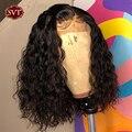 SVT бразильские волнистые короткий Боб 4x4 закрытие парик шнурка человеческих волос фронтальной вьющиеся парики для Для женщин предварительн...