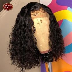 SVT brésilien vague d'eau court Bob 4x4 fermeture perruque cheveux humains dentelle frontale ondulée bouclés Bob perruques pour les femmes pré plumé perruque de dentelle