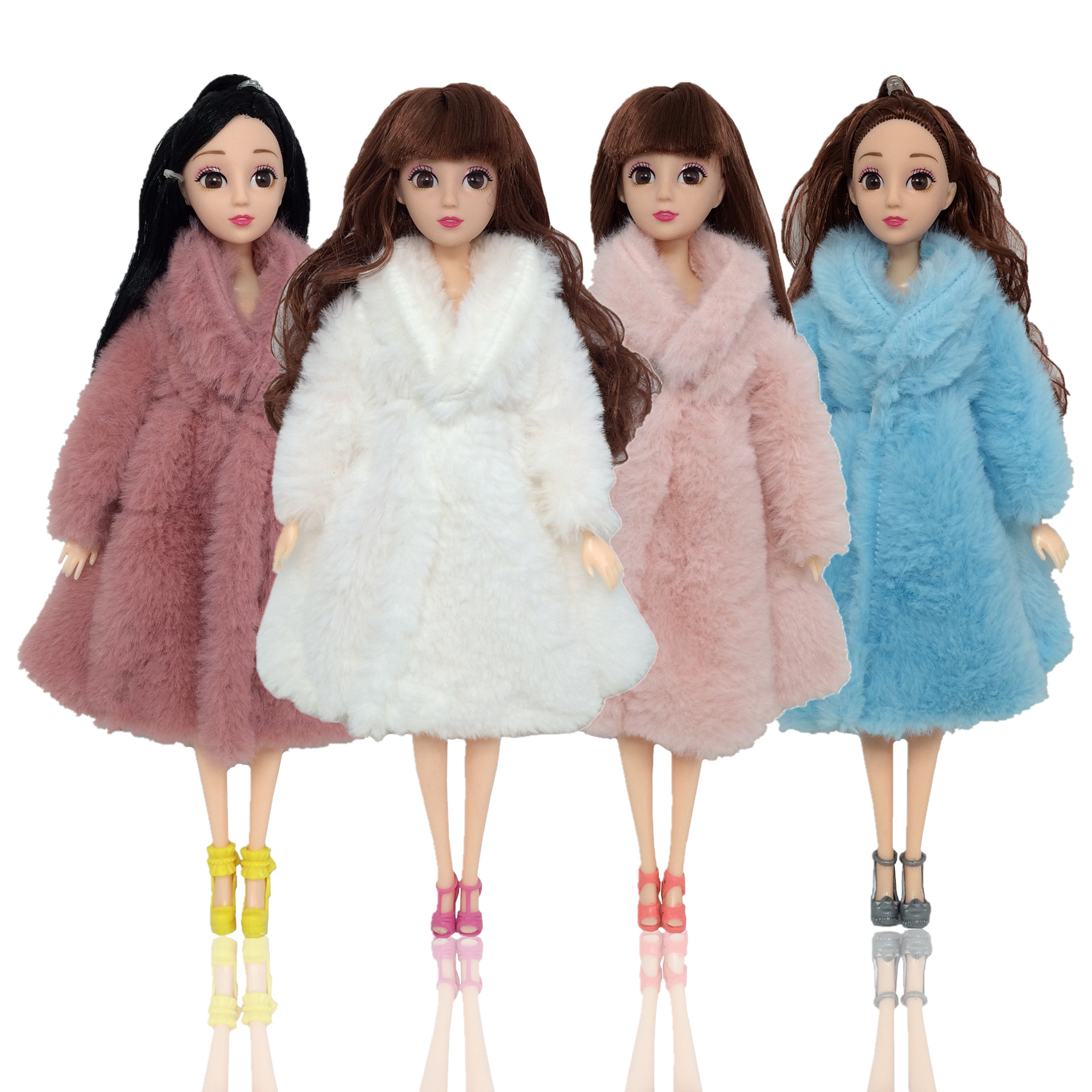 Fashion BJD Dolls Plush Coat Doll Clothes Changeable Dress Up 11 Inch 30cm Bjd Clothes Suit Short Skirt DIY Toys For Girls Gift