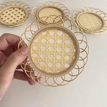 Posavasos para taza de té hueca de bambú Natural, soporte para taza, plato de postre para el hogar, cocina, sala de estar, 1 ud.
