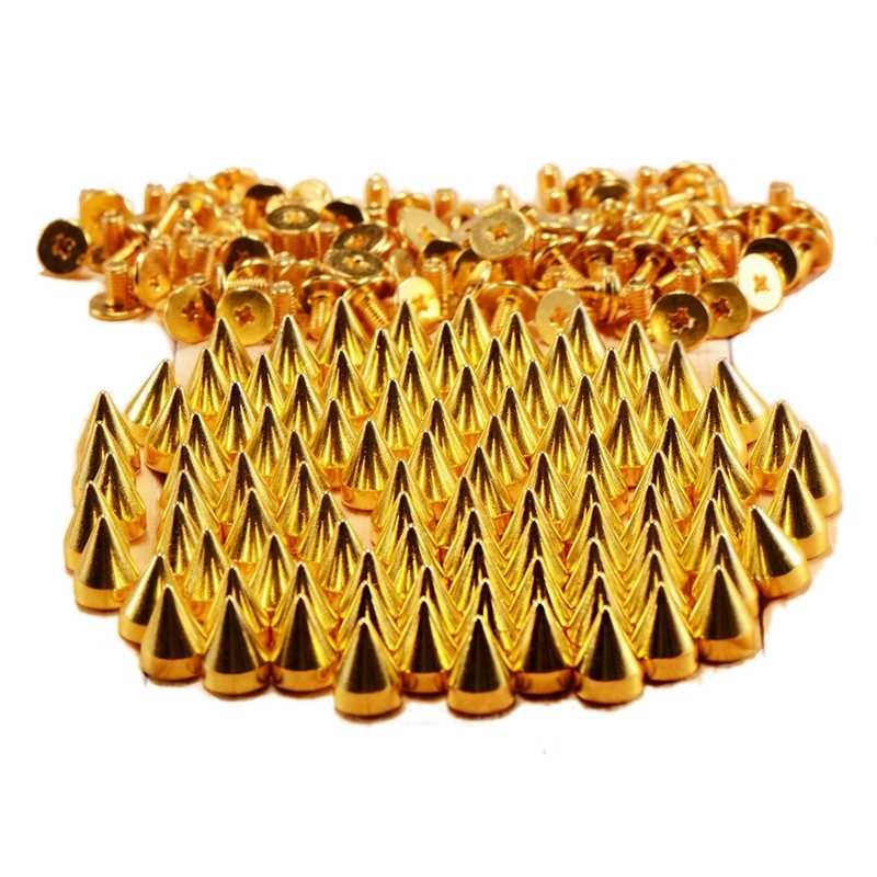 9,5 мм 100 шт закручивающиеся шипы золотого конуса, кожанные поделки, Панк пятна, пули