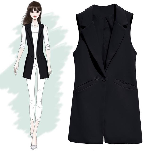 Vest For Women Sleeveless Jacket Coat Long Vest Blazer Formal Work Ladies Office Vintage Slim Suit Waistcoat Female Plus Size 3