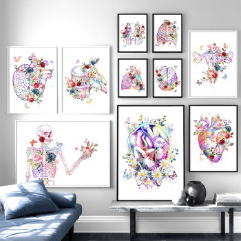 Flower foot bone anatomy wall art canvas painting nordic posters and prints doctors decorate pictures