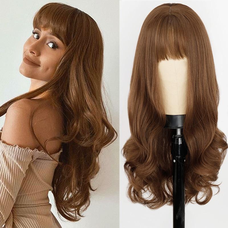 Perruque femme vague de corps longue perruque naturelle avec frange perruques synthétiques gris/marron/noir perruques résistantes à la chaleur pour les femmes