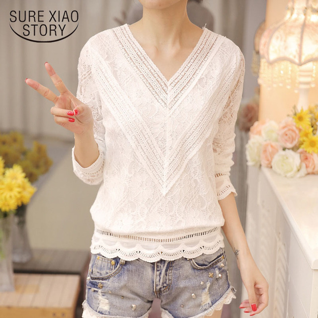 New Arrived Autumn Fashion Women Blouse Long Sleeved Lace Women Top Lace Bottoming Blouses Causal Slim Fit Shirts Blusa 0943 40 1