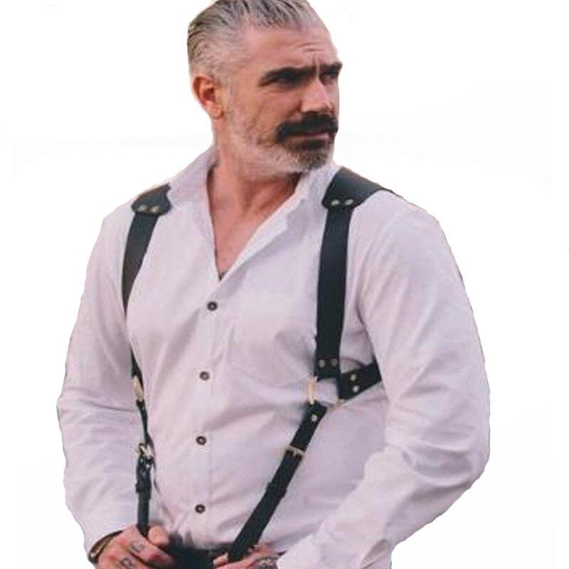 Fetish Men Gay Chest Harness Male Leather Exotic Tops Adjustable Men Harness Belts Punk Rave Costumes For BDSM Bondage Gay Sex