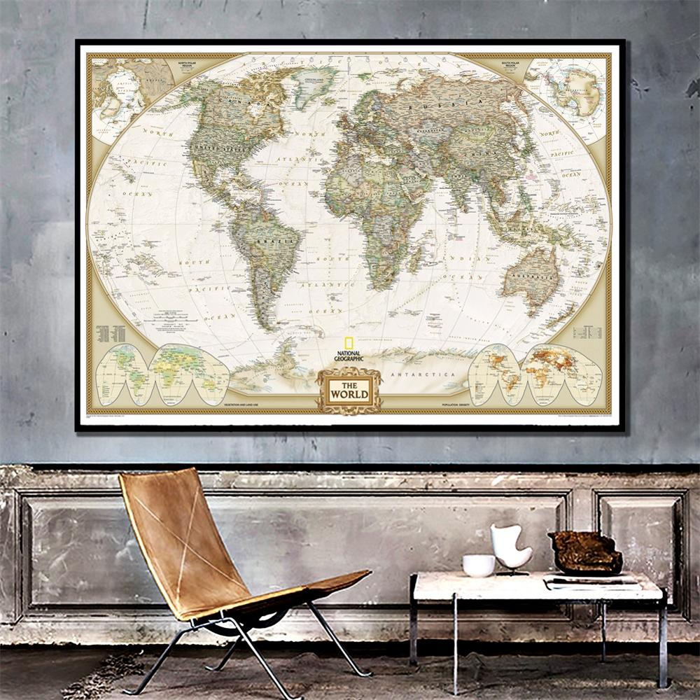 A2 Size The Wolrd Political Map 2011 Version HD Fine Canvas Printed Unframed World Map For Office Home Wall Decoration