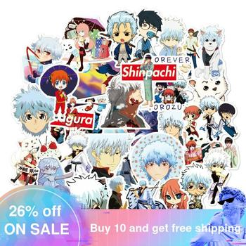 50PCS Japan Anime GINTAMA Cartoon Stickers for Case Laptop Motorcycle Skateboard Luggage Children Toy Decal Sticker 50pcs newly movie it chapter two joker anime sticker cartoon for skateboard guitar laptop luggage furnitur decal toy stickers