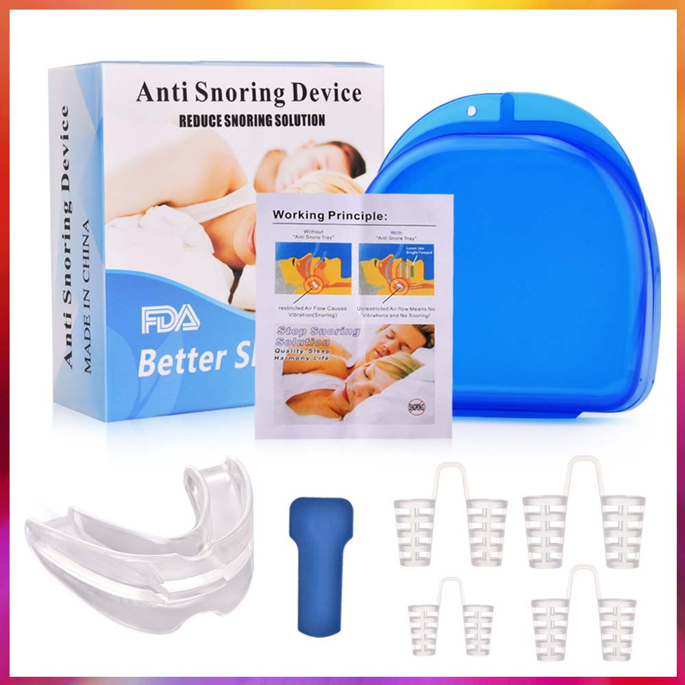 Anti Snoring Nasal Dilators Mouth Guard Mouthpiece Stopper Antisnoring Device For Sleeping Apnea With Case Sleep Care Tools