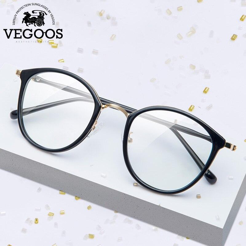 VEGOOS Anti Blue Light Glasses Women Men Fashion Round Style Computer Glasses Frame for Gaming Anti Eye Strain #5136