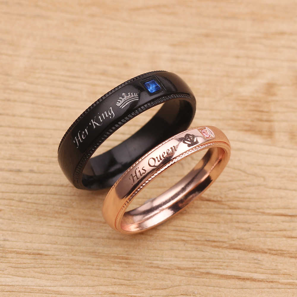 Fashion Promise Couple Rings Her King & His Queen Crown Charm Letter Ring For Women Men