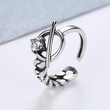 Genuine S925 Sterling Silver Ring Chain Shape Irregular Asymmetric Retro Thai Open Adjustable