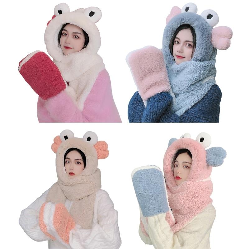 Women Winter Warm 3 In 1 Fuzzy Plush Hooded Scarf Hat Gloves Set Cartoon Big Eyes Ears Windproof Earflap Cap Mittens