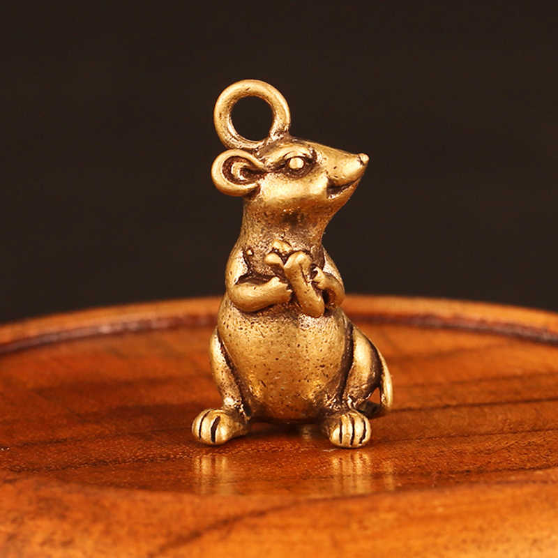 Creative Lucky Mini Zodiac Rat Hanger Home Office Tafel Desktop Drop Ornament Decor Muis Standbeeld Miniatuur