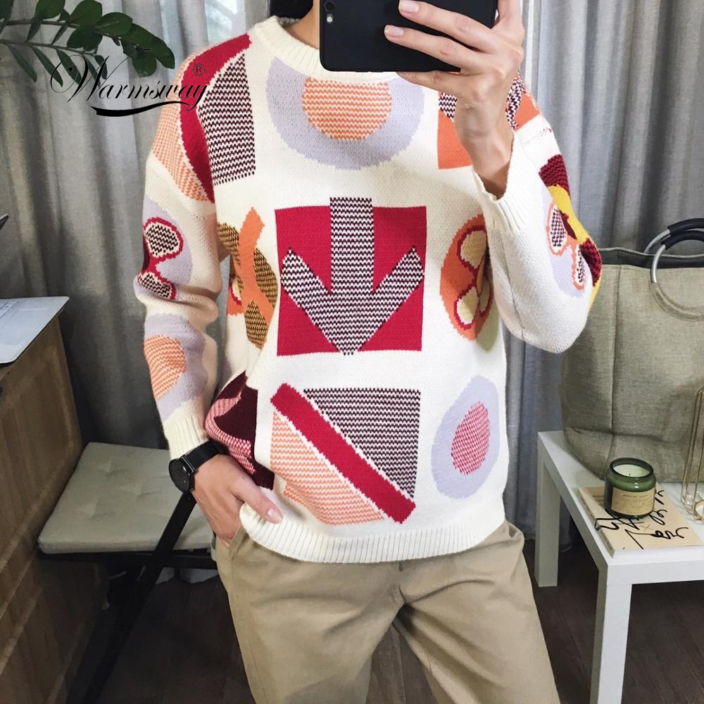 High Quality Street Fashion Lady's Jacquard Oversized Sweater 2019 New Novelty Long Sleeve Knit Pullover Women Jumper C-260