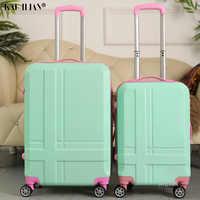 ABS + PC 20''24 pouces valise sur roues voyage bagages à roulettes étudiants continuent cabine trolley bagages pour filles valise femmes