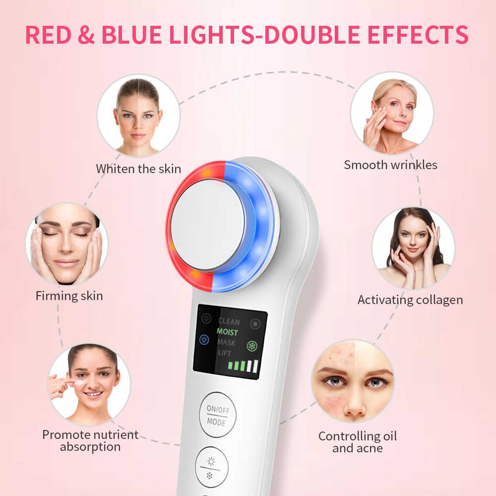 Anlan Iontophoresis Warna LED Ems Kecantikan Instrumen Ultrasonik Mikro Impor Mengurangi Kerut Wajah Mengangkat Alat Pijat