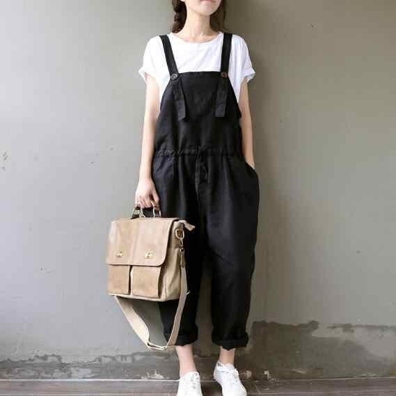 2020 wiosenne i letnie kombinezony literatura spodnie bawełniane Plus rozmiar czarne kombinezony spodnie damskie spodnie haremki z szeroką nogawką AH201