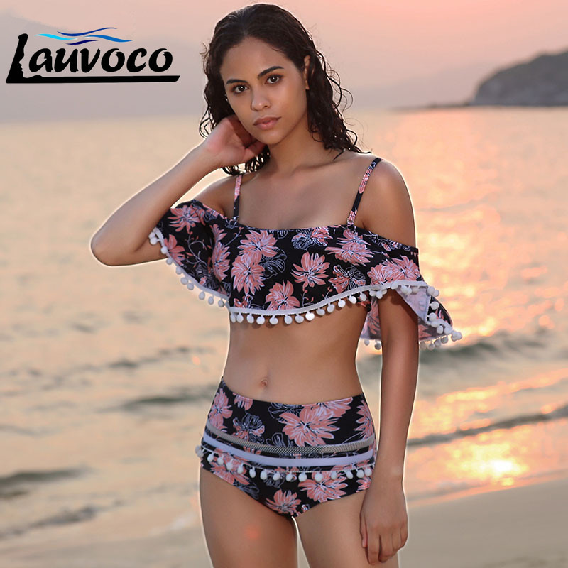 2019 Flower Print Ruffle Bikini Plus Size Female High Waist Swimsuit Sexy Brazilian Swimwear Two Piece Swimming Suit For Women