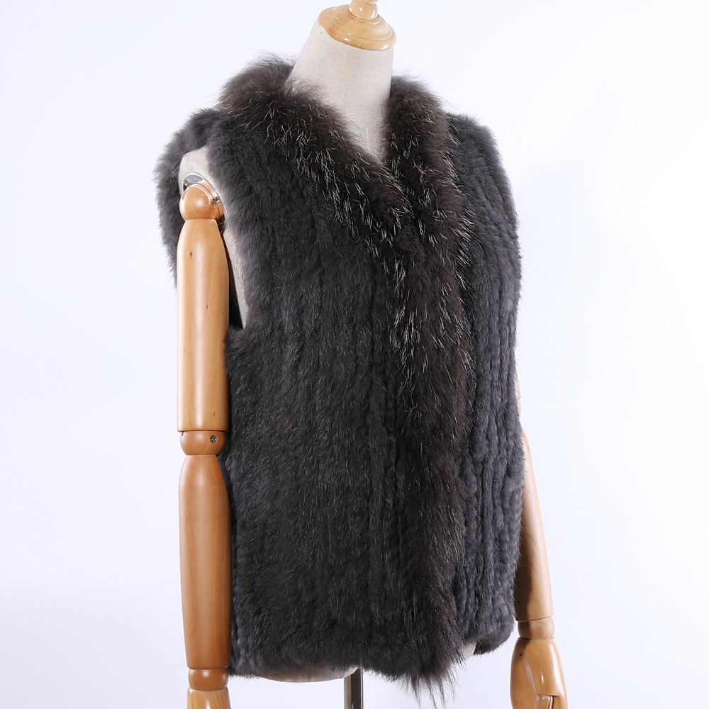 SUPPEV&STTDIO 2019 New Women's Genuine Rabbit Fur Knitted Raccoon Fur Collar Vest Vests Real Fur Sleeveless Gilets Wholesale