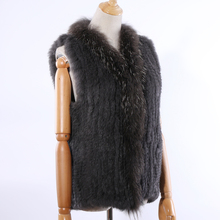 SUPPEV&STTDIO 2019 New Womens Genuine Rabbit Fur Knitted Raccoon Collar Vest Vests Real Sleeveless Gilets Wholesale