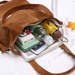Image 5 - 2020 bolsa feminina de veludo com zíper de ombro bolsa de lona de algodão bolsa casual tote feminino crossbody saco das senhoras do vintage