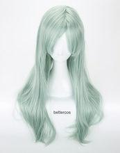 Os sete pecados mortais elizabeth liones cosplay peruca longa luz cinza verde resistente ao calor peruca de cabelo sintético + peruca boné
