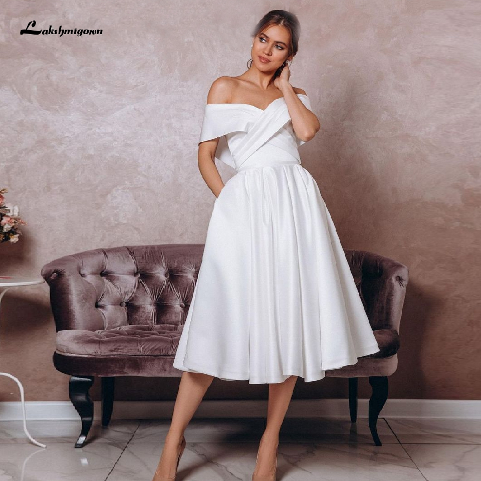 Lakshmigown Simple White Satin Wedding Dress Tea Length Vestido Curto 2020 Elegant Bridal Beach Wedding Dresses With Pockets