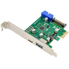 Carte d'extension PCI-E double Port USB 3.1 type-c + type-a NEC720201 jeu de puces haute vitesse 10Gbps connecteur d'alimentation 15 broches