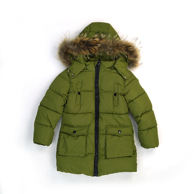 C, ё Г А by Kappa А <font><b>70912</b></font> Autumn & Winter BOY'S Mid-length Cotton Coat Raccoon Dog Large Fur Collar 3-Color 4-8 Years Old image