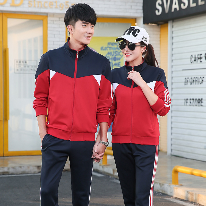 Spring And Autumn Couples Sports Clothing Set Long Sleeve Mixed Colors Men And Women Students Business Attire Uniform Coat