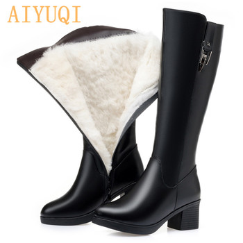 AIYUQI Winter Women Long Boots Genuine Leather Natural Wool Warm High Boots Women Fashion Large Size Women Riding Boots