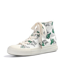 Hipster fashion Cactus Patterns Korean Edition Womens White Canvas Shoes  2019 New Soft-soled cute Flat-soled discount