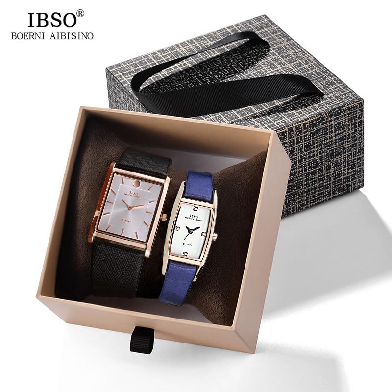 IBSO Brand Couple Quartz Watch Brand Ultra-thin Rectangle Dial Quartz Wristwatch For Men Women Leather Strap Quartz Clock Hours