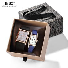 IBSO Brand Couple Quartz Watch Ultra-thin Rectangle Dial Wristwatch for Men Women Leather Strap Clock Hours