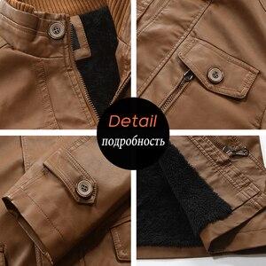 Image 5 - Oumor Men Winter Casual Long Warm Fleece PU Leather Jacket Coat Men Outwear Brand Thick Punk Motor Vintage Leather Jackets Men