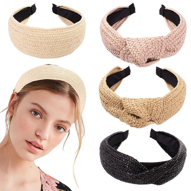 Top Knotted Handmade Straw Weave Headband For Women Girls Hair Bands Turban Hair Hoop Bezel Female Hair Accessories