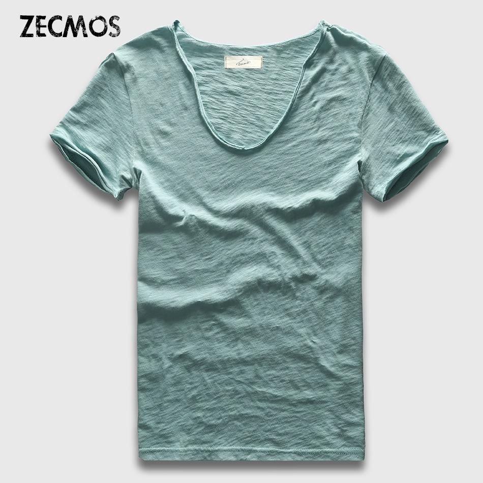 Zecmos Brand Men T-Shirt Plain Hip Hop Fashion Casual XXXL V Neck T Shirt Swag For Men Short Sleeve Man Top Tees