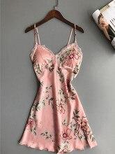 Hot Sale Fashion V-Neck Lace Sleepwear Dress Sexy Women Floral Satin Silk Nightdress Print Nightgowns цена 2017