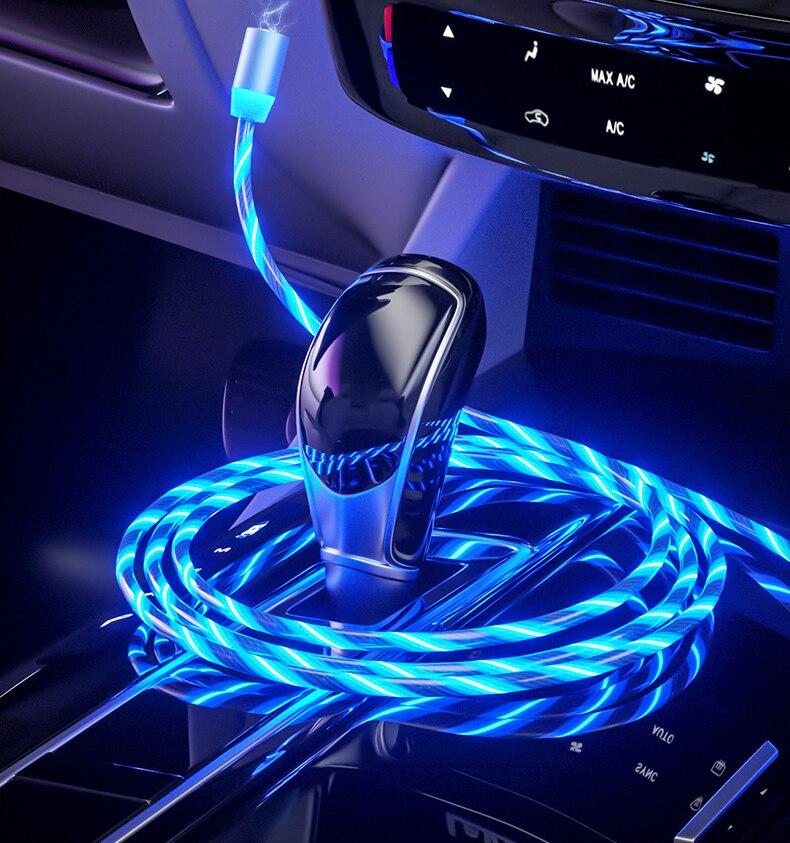 Светодиодный магнитный USB-провод для быстрой зарядки для Renault Koleos QM5 QM6 Scenic Megane Fluenec Latitude Clio Rubbe