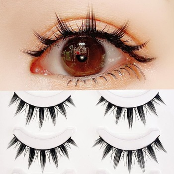 Yokpn New 5 Pairs Eyelashes Cos Dance Performance Eyelash Handmade Acrylic Cross Eyelash Female Japanese 3D Natural Lashes 1