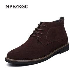 Npezkgc plus size 38-48 homens botas chelsea sólido couro casual outono inverno tornozelo botas marca masculina camurça couro sapatos masculinos