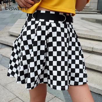 Disweet plisowana w kratę spódnice kobiet wysokiej zwężone w kratkę spódnica Harajuku taniec koreański styl pot minispódniczki kobiet tanie i dobre opinie COTTON Poliester spandex NONE WOMEN YJH-2020 empire Plaid Streetwear Powyżej kolana Mini skirt Skirt woman fashion 2019
